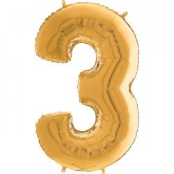 """GOLD NUMBER 3 SHAPE 26"""" PKT"""