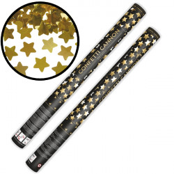CONFETTI CANNON WITH STARS GOLD METALLIC 60CM