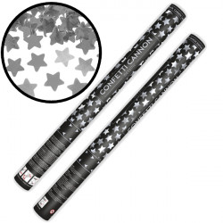 CONFETTI CANNON WITH STARS SILVER METALLIC 60CM