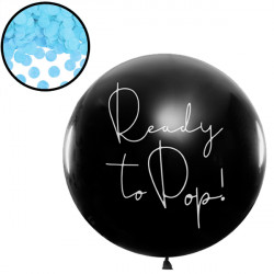 GENDER REVEAL READY TO POP 3' BLACK (1CT) WITH BLUE CONFETTI