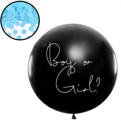 GENDER REVEAL BOY OR GIRL 3' BLACK (1CT) WITH BLUE CONFETTI