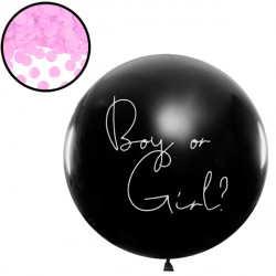 GENDER REVEAL BOY OR GIRL 3' BLACK (1CT) WITH PINK CONFETTI