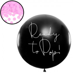 GENDER REVEAL READY TO POP 3' BLACK (1CT) WITH PINK CONFETTI