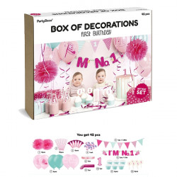 PARTY DECORATIONS I'M NO. 1 PINK  42 PIECE SET
