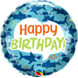 "FUN SHARKS BIRTHDAY 18"" PKT"