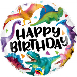 "COLOURFUL DINOSAURS BIRTHDAY 18"" PKT"