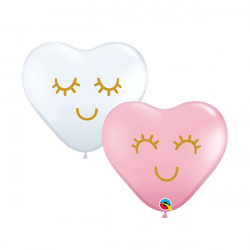 "EYELASHES 6"" HEART PINK & WHITE ASSORTMENT (100CT)"