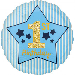 BLUE & GOLD BOY 1ST BIRTHDAY STANDARD S40 PKT