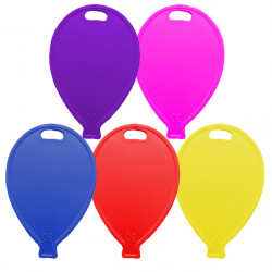 PRIMARY ASSORTMENT BALLOON SHAPE PLASTIC WEIGHT 100CT (BULK 10 BAGS)