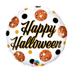 "SPARKLY DOTS HALLOWEEN 9"" FLAT"