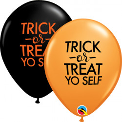 "SIMPLY TRICK OR TREAT YO SELF 11"" ORANGE & ONYX BLACK (25CT)"