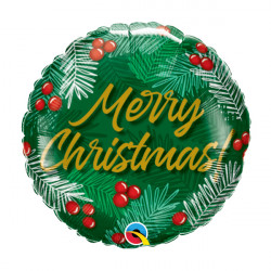 """CHRISTMAS GREENS & BERRIES 9"""" INFLATED WITH STICK & CUP"""