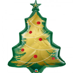 "CHRISTMAS TREE BRUSHED GOLD 40"" SHAPE GROUP  PKT"