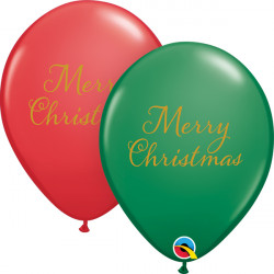 """SIMPLY MERRY CHRISTMAS 11"""" GREEN & RED 25CT"""