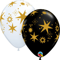 "STAR PATTERNS 11"" ONYX BLACK & WHITE (25CT)"
