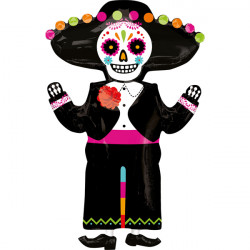 "DAY OF THE DEAD SKELETON SHAPE P35 PKT (21"" x 34"")"