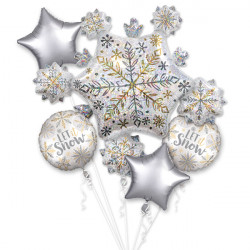 SHINING SNOW 5 BALLOON BOUQUET P75 PKT (3CT)