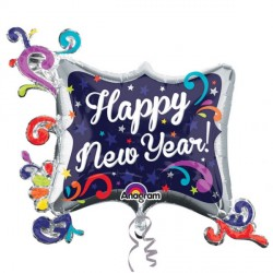 SWIRL FRAME HAPPY NEW YEAR SHAPE P40 PKT