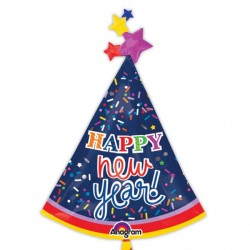 PARTY HAT HAPPY NEW YEAR SHAPE P35 PKT (5 PACK)