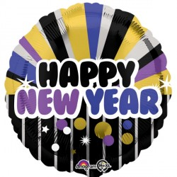PURPLE & GOLD HAPPY NEW YEAR STANDARD S40 PKT (5 PACK)