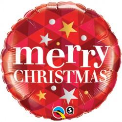 "MERRY CHRISTMAS STARS RED 18"" PKT"
