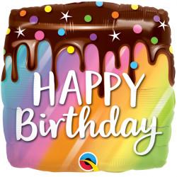 "RAINBOW DRIP CAKE BIRTHDAY 18"" PKT"