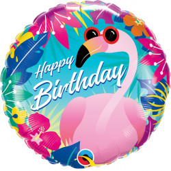 "FLAMINGO TROPICAL BIRTHDAY 18"" PKT"