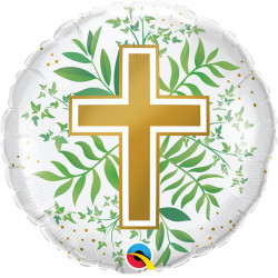 "GOLDEN CROSS & GREENERY 18"" PKT"