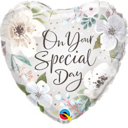 """SPECIAL DAY WHITE FLORAL 18"""" PKT IF"""