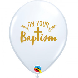 """ON YOUR BAPTISM CROSS 11"""" WHITE GOLD INK (25CT) LAC"""