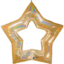 "GOLD GLITTER LINKY STAR 48"" GRABO PKT"