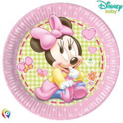 BABY MINNIE MOUSE PAPER PLATES 23cm (8CT X 6 PACKS)