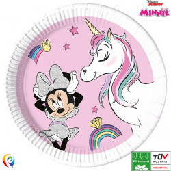 MINNIE MOUSE UNICORN DREAMS COMPOSTABLE PAPER PLATES 23cm (8CT X 6 PACKS)