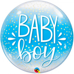 "BABY BOY BLUE & CONFETTI DOTS 22"" SINGLE BUBBLE"