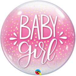 "BABY GIRL PINK & CONFETTI DOTS 22"" SINGLE BUBBLE"