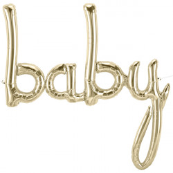 "BABY SCRIPT WHITE GOLD 40"" AIRFILLED SHAPE S1-01 PKT"