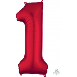 "RED NUMBER 1 SHAPE P50 PKT (13"" x 34"")"