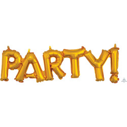 "PARTY GOLD BLOCK PHRASE SHAPE S55 PKT (33"" x 9"")"