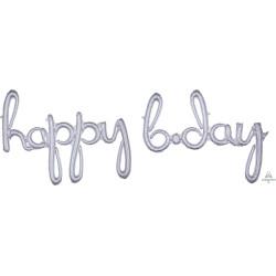 """HAPPY BDAY HOLO SILVER SCRIPT PHRASE SHAPE P70 PKT ('HAPPY' 39"""" x 27"""" / 'B.DAY' 39"""" x 27"""")"""
