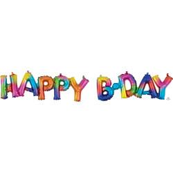 "HAPPY BDAY RAINBOW SPLASH BLOCK PHRASE SHAPE G40 PKT ('HAPPY' 30"" x 10"" / 'B.DAY' 26"" x 9"")"