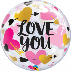 "HEARTS & ARROWS LOVE YOU 22"" SINGLE BUBBLE"