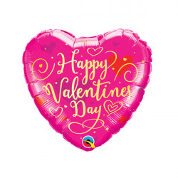 """GOLD SCRIPT VALENTINE'S DAY 9"""" INFLATED WITH CUP & STICK"""