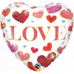 "JEWEL LOVE HEARTS 18"" PKT"