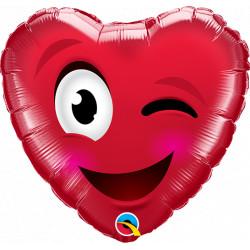 """SMILEY WINK HEART 9"""" FLAT"""