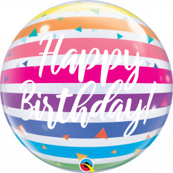 "BRIGHT RAINBOW STRIPES BIRTHDAY 22"" SINGLE BUBBLE"