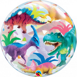 "DINOSAURS COLORFUL 22"" SINGLE BUBBLE"