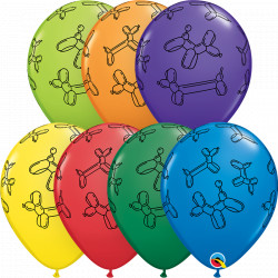 "BALLOON DOGS 11"" CARNIVAL ASSORTMENT (25CT)"