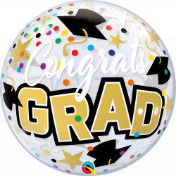 "CONGRATS GRAD STARS & DOTS 22"" SINGLE BUBBLE"