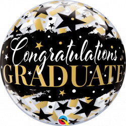 "BLACK STARS GRADUATE 22"" SINGLE BUBBLE"
