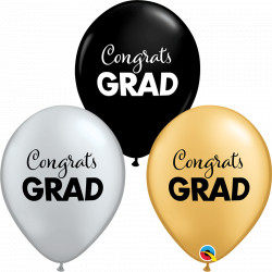 SIMPLY CONGRATS GRAD GOLD, SILVER & ONYX BLACK ASSORTED (25CT)